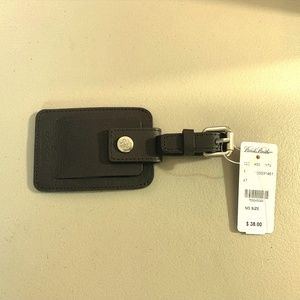 Brooks Brothers Dark Brown Leather Luggage Tag NWT